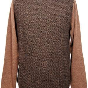 Girocollo pura lana con jaquard davanti