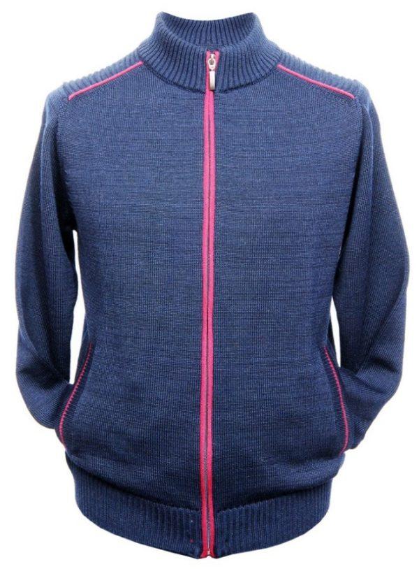lupetto full zip blu con bordini bordo' misto lana